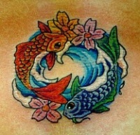 Beautiful fishes tattoo yin yang design